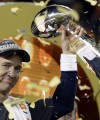 Denver Broncos' Peyton Manning holds up the trophy after the NFL Super Bowl 50 football game Sunday, Feb. 7, 2016, in Santa Clara, Calif. The Broncos won 24-10. (AP Photo/Julie Jacobson)