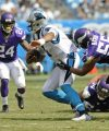 Carolina Panthers' Cam Newton (1) is tackled by Minnesota Vikings' Anthony Barr (55) in the second half of an NFL football game in Charlotte, N.C., Sunday, Sept. 25, 2016. (AP Photo/Mike McCarn)