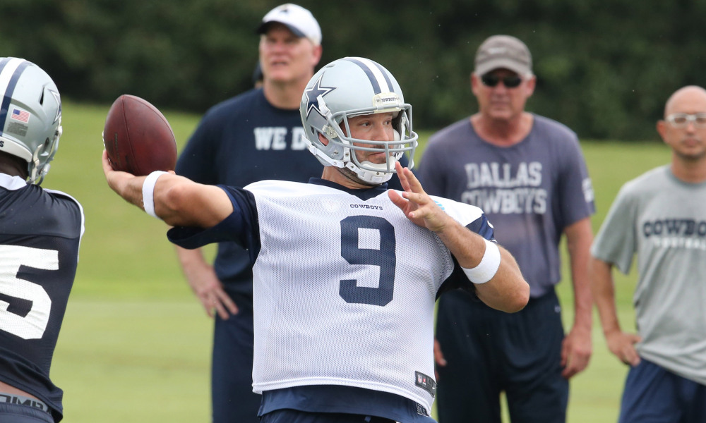 Jun 14, 2016; Irving, TX, USA; Dallas Cowboys quarterback Tony Romo (9) throws during minicamp at Dallas Cowboys Headquarters. Mandatory Credit: Matthew Emmons-USA TODAY Sports ORG XMIT: USATSI-271326 ORIG FILE ID:  20160614_mje_se2_1018.jpg