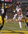 Pittsburgh Steelers cornerback William Gay (22) breaks up a pass in the end zone intended for New York Giants wide receiver Odell Beckham (13) during the second half of an NFL football game in Pittsburgh, Sunday, Dec. 4, 2016. (AP Photo/Don Wright)